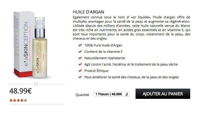 acheter huile d'argan bio skinception