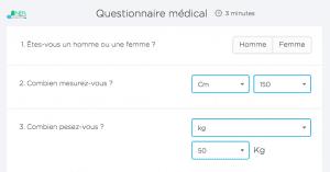 questionnaire médical treated