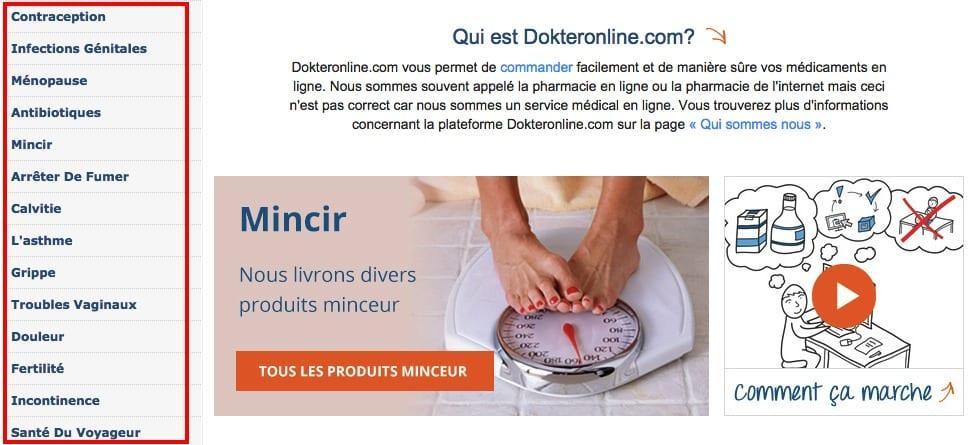 médicaments proposés sur DokterOnline