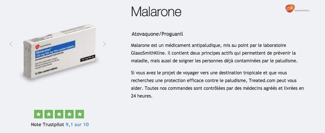 Malarone avis et prix