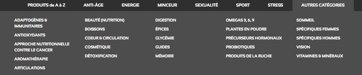 categories produits anastore