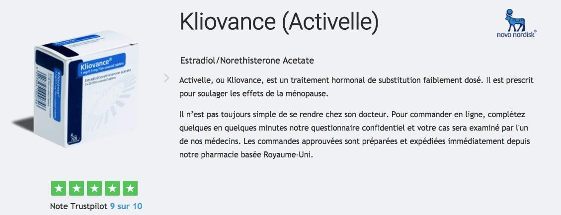 activelle traitement menopause