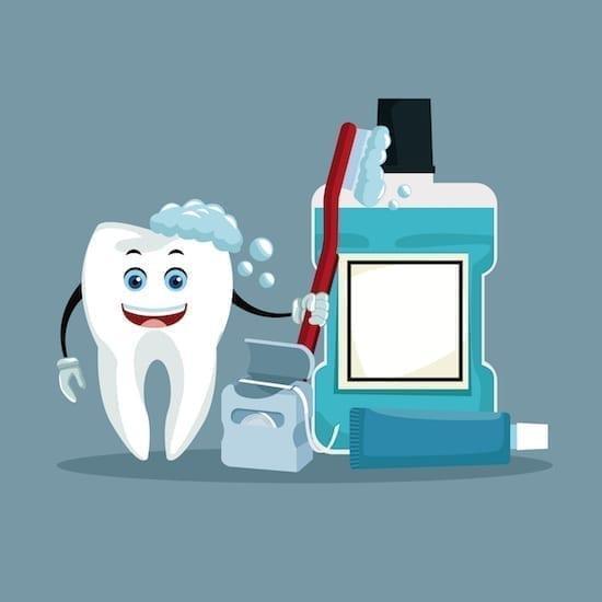 dessin brosse à dents et bain de bouche